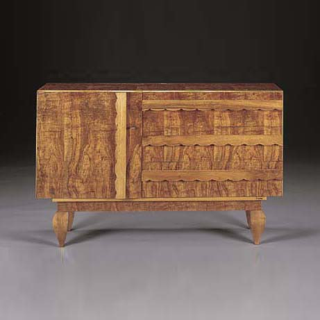 Brass inlaid walnut commode