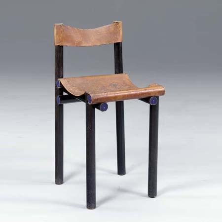 Ebonized and leather piano stool