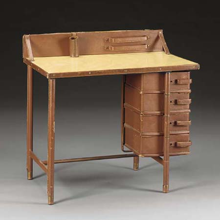 Leather and brass desk