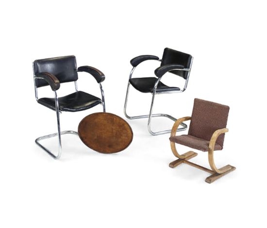 Sp-9 armchairs, pair (+ 2 others)