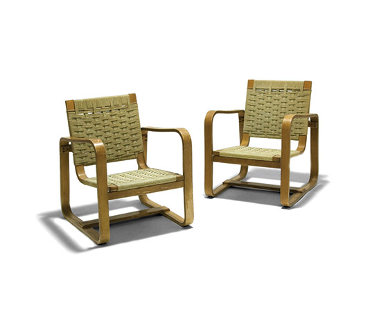 Pair of plywood armchairs