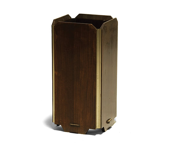 Rosewood and metal umbrella stand