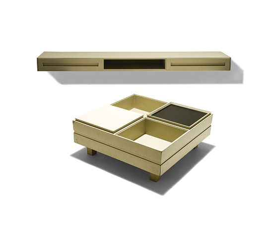 Lacquered wood coffee table and wall console