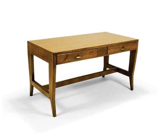 Wooden writing table with brass handles