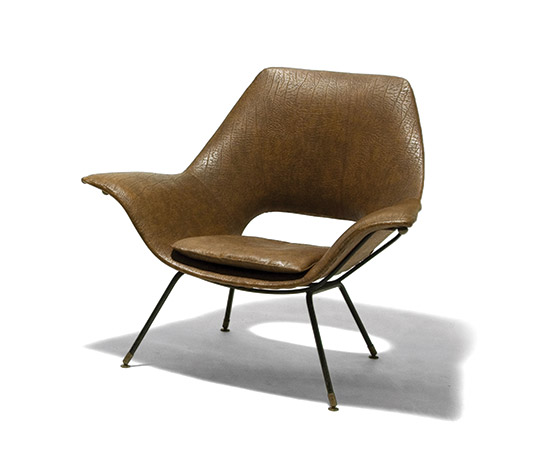 Pair of metal and synthetic leather armchairs by Della Rocca