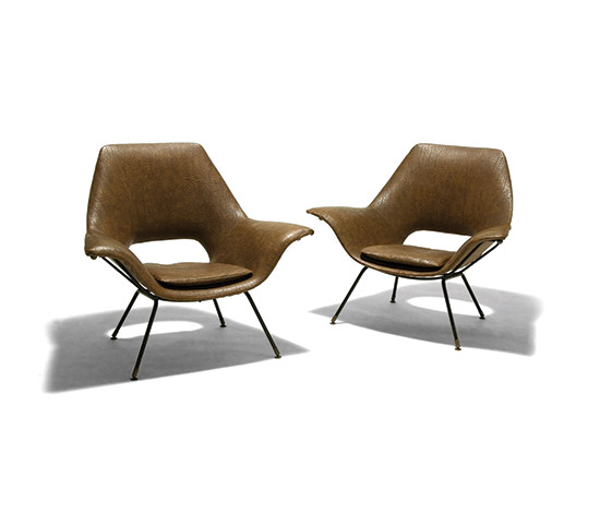 Della Rocca-Pair of metal and synthetic leather armchairs