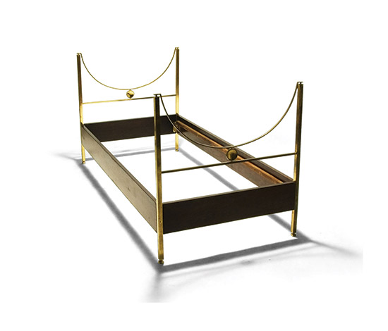 Pair of brass and rosewood beds