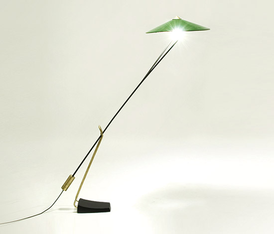 Brass and laquered metal floorlamp