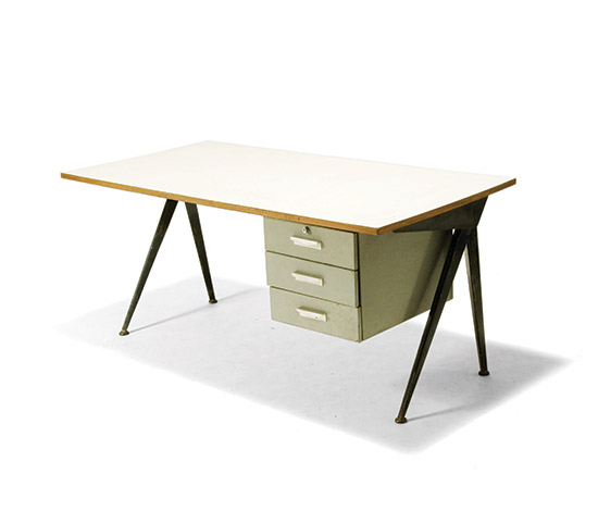 Desk with enamelled legs and drawers, desk top in white laminate