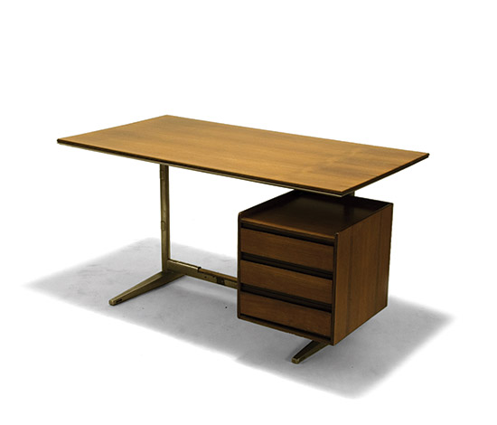 Desk in metal and rosewood, designed for the Pirelli skyscraper