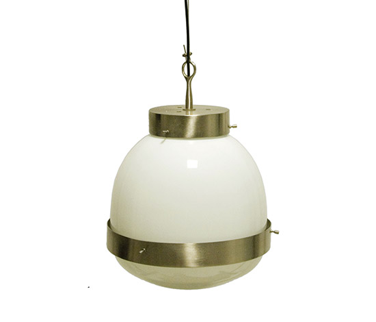 Glass and nickel-plated brass pendant lamp, mod. 'Delta'