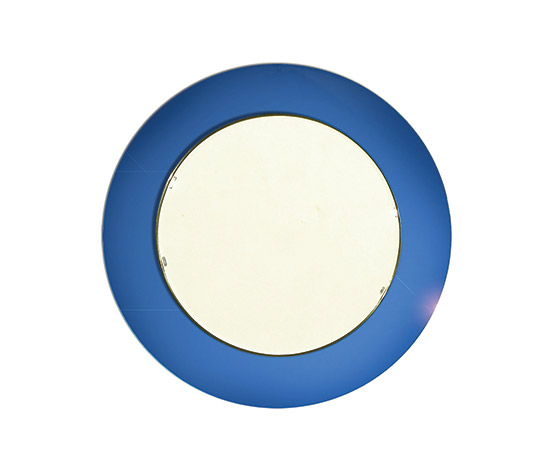 Round mirror with blue curved glass frame