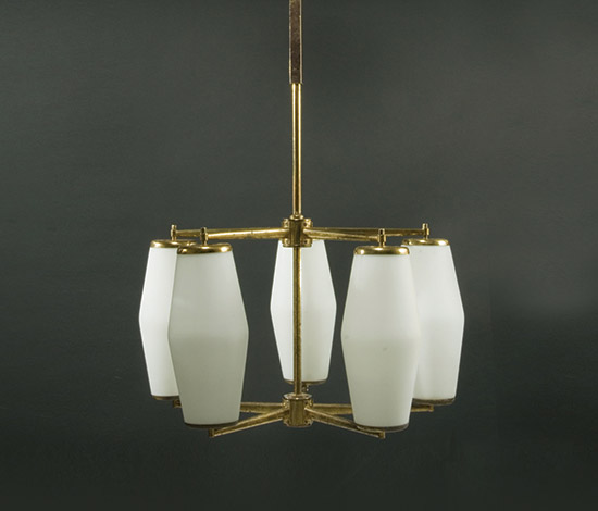 Pair of brass chandeliers with satin glass diffuser