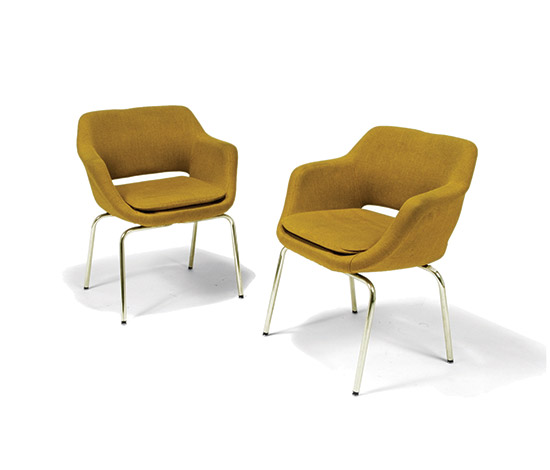 Pair of upholstered armchairs, legs in chrome-plated steel