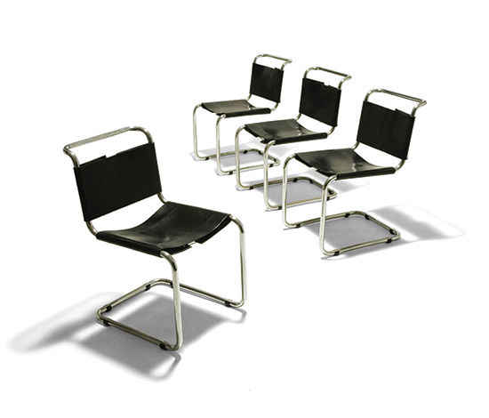 Della Rocca-Four 'B33' cantilever chairs with chrome-plated steel structure