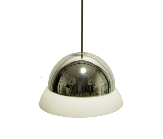 'Cirene' chrome-plated brass / opal glass diffusor pendant lamp