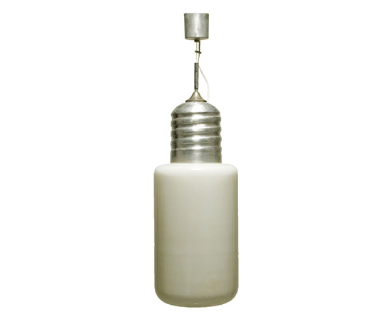 Aluminum and opal glass pendant lamp