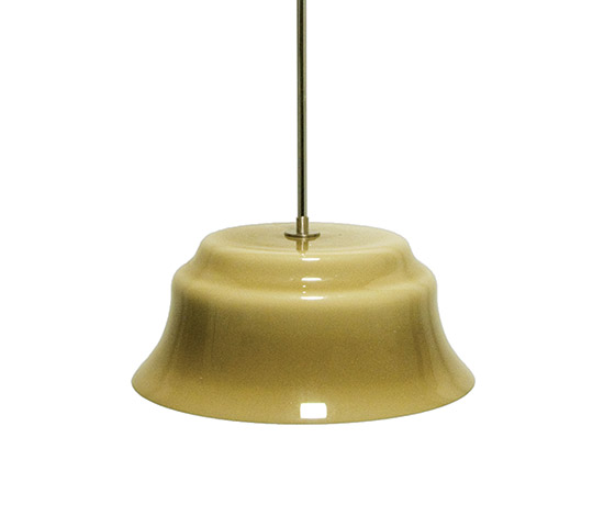 'Merope' brass and opal glass pendant lamp