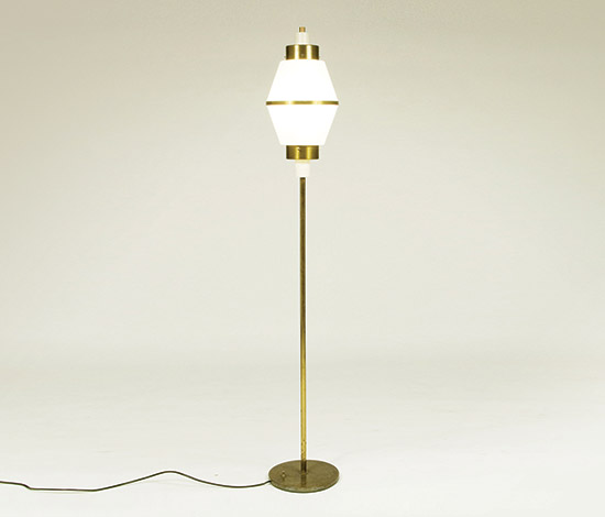 Brass, lacquered metal and opal plexiglass floor lamp