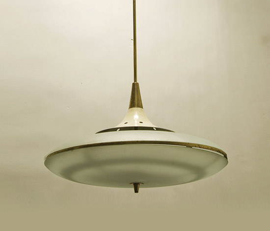 Glass, brass and lacquered metal pendant lamp