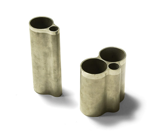 Pair of cast aluminum vases
