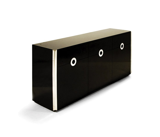 Della Rocca-Sideboard in black laminate / stainless steel