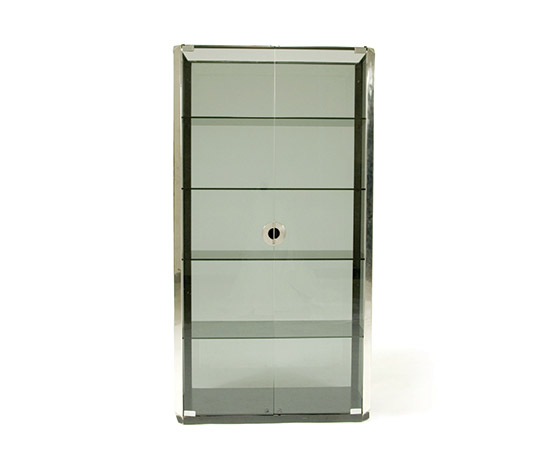 Smoked glass and metal cabinet