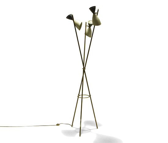 Metal floor lamp with orientable diffusers