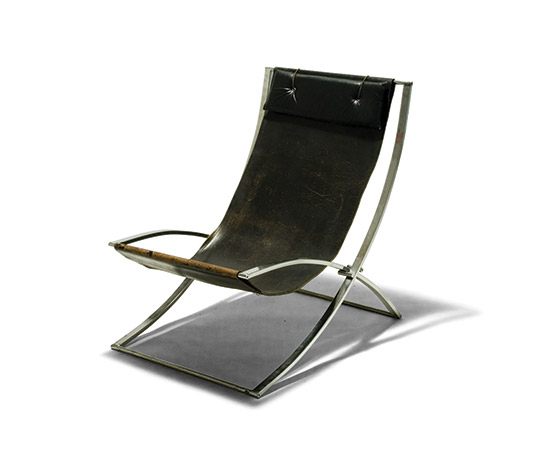 Leather and steel armchair