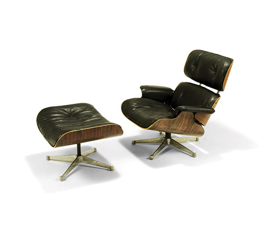 Lounge chair with ottoman, mod 670-671