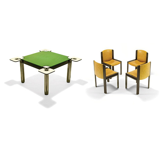'Poker' game table, four chairs mod. 300