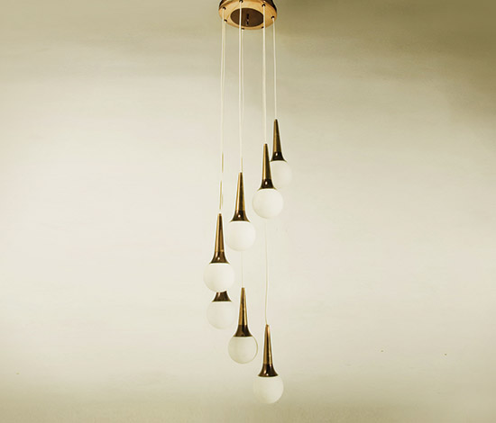 Copper and opaline glass chandelier