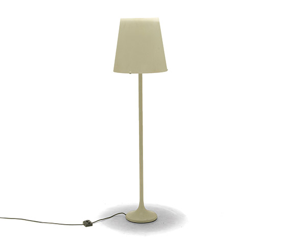 White metal and opaline glass floorlamp
