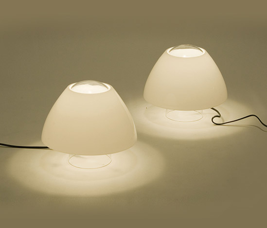 Pair of 'Sorella' glass table lamps
