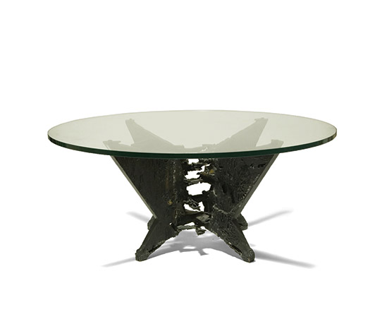 Crystal table with cast bronze base