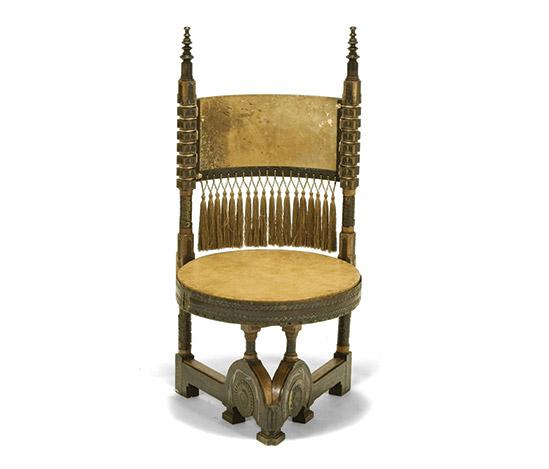 Wooden seat with metal inlay work de Della Rocca