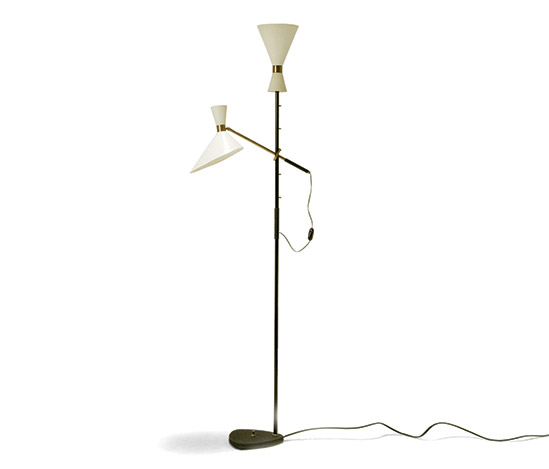 Lacquered floorlamp with brass details