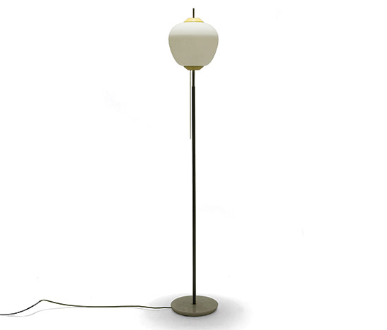 Metal and opaline glass floorlamp