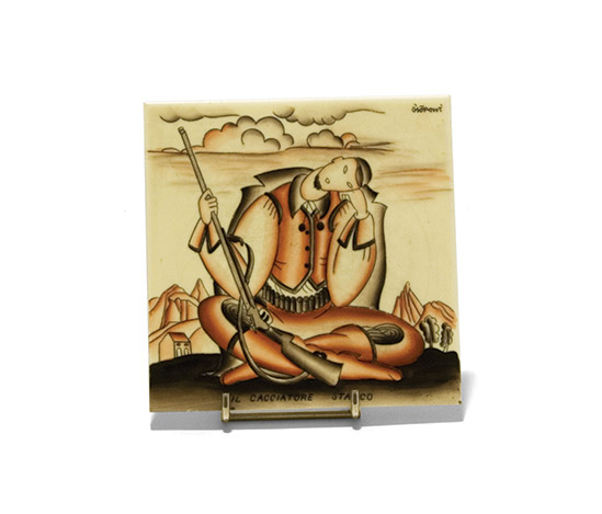 Earthenware tile 'Il cacciatore stanco' by Della Rocca