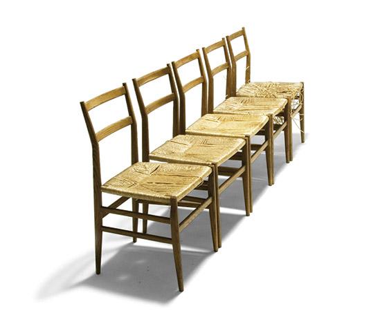 Six ash wood 'Leggera' chairs de Della Rocca