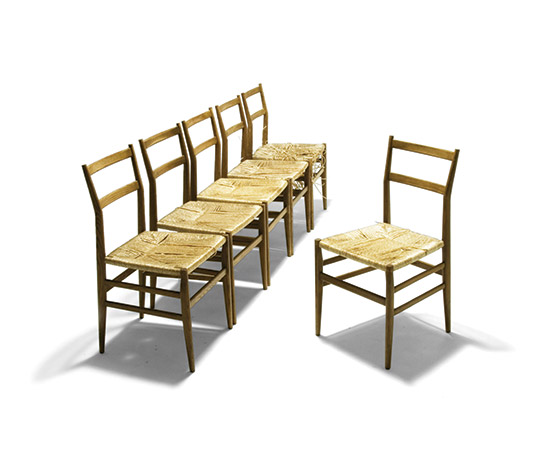Six ash wood 'Leggera' chairs
