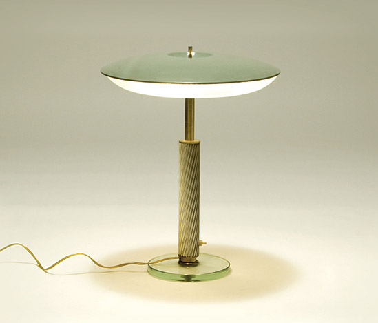 Brass and cut glass table lamp