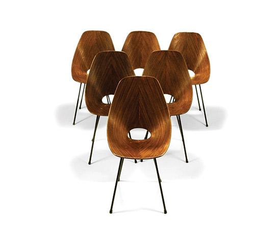 Della Rocca-Six mahogany 'Medea' chairs
