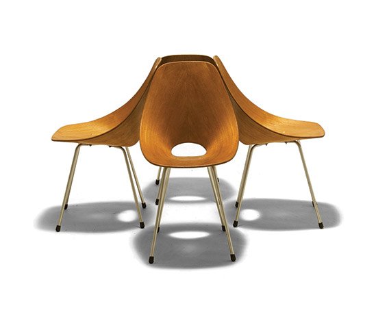 Four 'Medea' plywood chairs