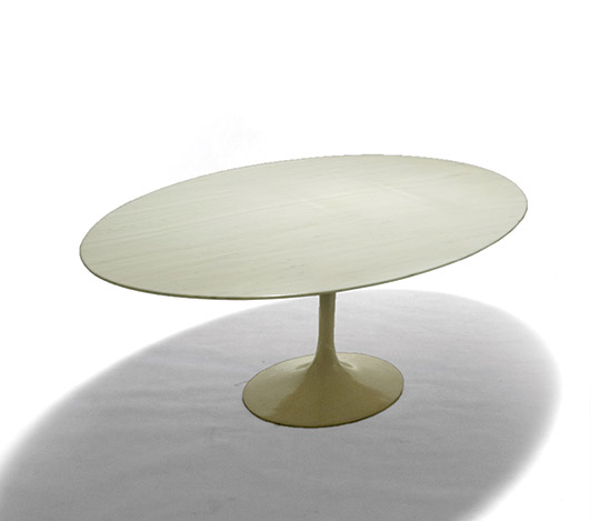 Oval dining table, marble top