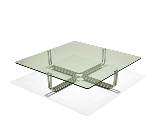 Chrome-plated coffee table, crystal top