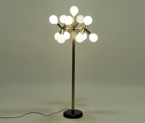Aluminum and resin floor lamp by Della Rocca