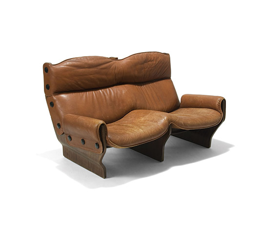 'Canada' leather and plywood sofa di Della Rocca