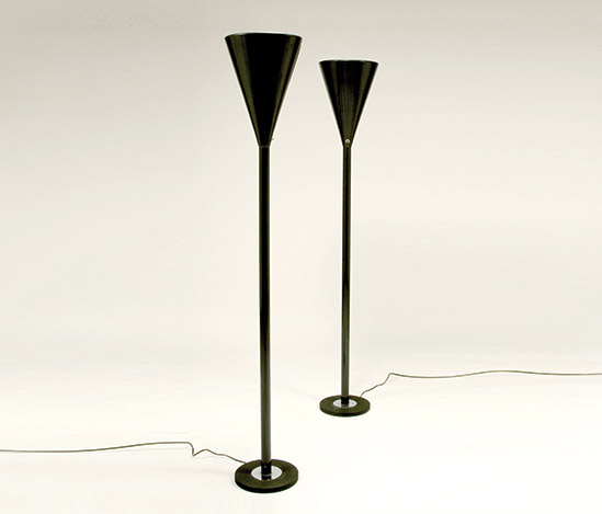 Pair of lacquered metal floor lamps