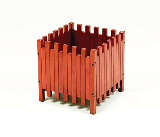 Planter, red lacquered wood